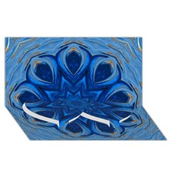 Blue Blossom Mandala Twin Heart Bottom 3d Greeting Card (8x4) by designworld65