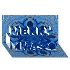 Blue Blossom Mandala Merry Xmas 3d Greeting Card (8x4) by designworld65