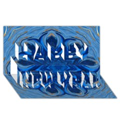 Blue Blossom Mandala Happy New Year 3d Greeting Card (8x4) by designworld65