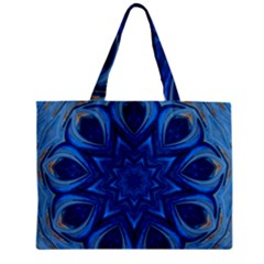 Blue Blossom Mandala Zipper Mini Tote Bag by designworld65