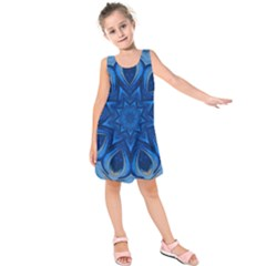 Blue Blossom Mandala Kids  Sleeveless Dress by designworld65