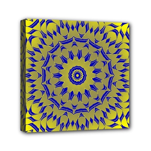 Yellow Blue Gold Mandala Mini Canvas 6  X 6  by designworld65
