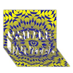 Yellow Blue Gold Mandala You Are Invited 3d Greeting Card (7x5) by designworld65