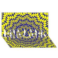 Yellow Blue Gold Mandala Engaged 3d Greeting Card (8x4) by designworld65