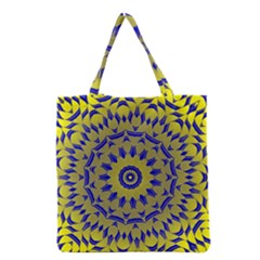 Yellow Blue Gold Mandala Grocery Tote Bag by designworld65