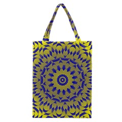 Yellow Blue Gold Mandala Classic Tote Bag by designworld65
