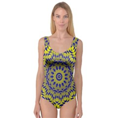 Yellow Blue Gold Mandala Princess Tank Leotard  by designworld65