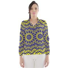 Yellow Blue Gold Mandala Wind Breaker (women) by designworld65