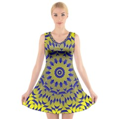 Yellow Blue Gold Mandala V Neck Sleeveless Skater Dress by designworld65