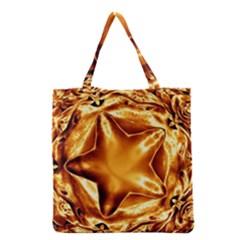 Elegant Gold Copper Shiny Elegant Christmas Star Grocery Tote Bag by yoursparklingshop