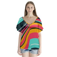 Bent Waves           V Neck Flutter Sleeve Top