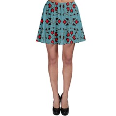 Beautiful Dark Turquoise With Red Ornaments Painting Design  Skater Skirt by GabriellaDavid