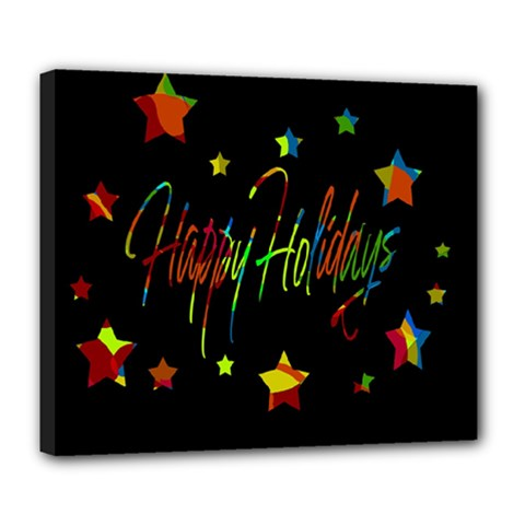 Happy Holidays Deluxe Canvas 24  X 20   by Valentinaart