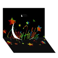 Happy Holidays Circle 3d Greeting Card (7x5)