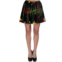 Happy Holidays Skater Skirt by Valentinaart