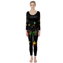 Happy Holidays Long Sleeve Catsuit by Valentinaart