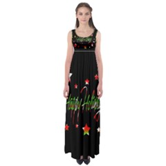 Happy Holidays 2  Empire Waist Maxi Dress by Valentinaart