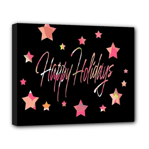 Happy Holidays 3 Deluxe Canvas 20  X 16   by Valentinaart