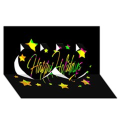 Happy Holidays 4 Twin Hearts 3d Greeting Card (8x4) by Valentinaart