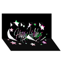 Happy Holidays 5 Twin Hearts 3d Greeting Card (8x4) by Valentinaart