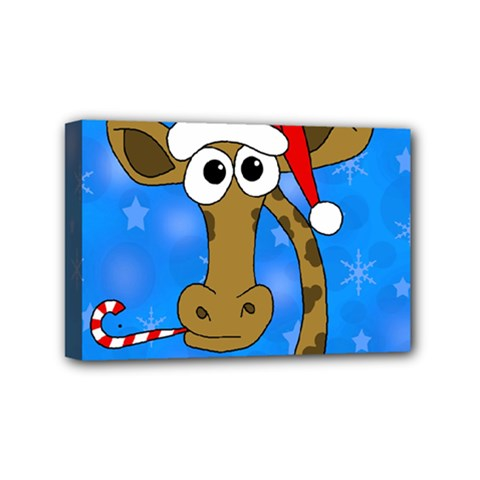 Xmas Giraffe   Blue Mini Canvas 6  X 4  by Valentinaart