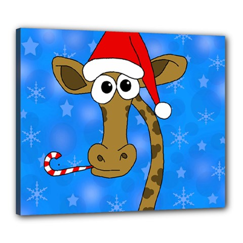 Xmas Giraffe   Blue Canvas 24  X 20  by Valentinaart
