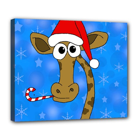 Xmas giraffe - blue Deluxe Canvas 24  x 20   by Valentinaart