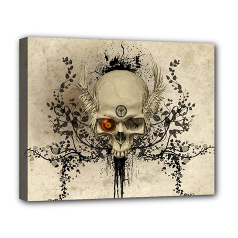 Awesome Skull With Flowers And Grunge Deluxe Canvas 20  X 16   by FantasyWorld7