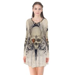 Awesome Skull With Flowers And Grunge Flare Dress by FantasyWorld7