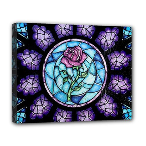 Cathedral Rosette Stained Glass Beauty And The Beast Deluxe Canvas 20  X 16   by Onesevenart