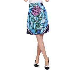 Cathedral Rosette Stained Glass Beauty And The Beast A Line Skirt by Onesevenart