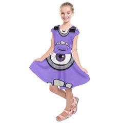 Evil Purple Kids  Short Sleeve Dress by Onesevenart