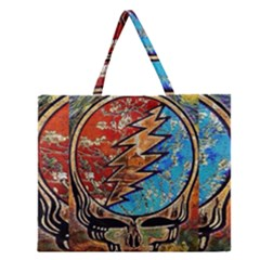 Grateful Dead Rock Band Zipper Large Tote Bag by Onesevenart
