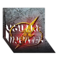 Grunge Flash Logo You Are Invited 3d Greeting Card (7x5) by Onesevenart