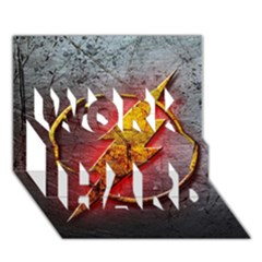 Grunge Flash Logo Work Hard 3d Greeting Card (7x5) by Onesevenart
