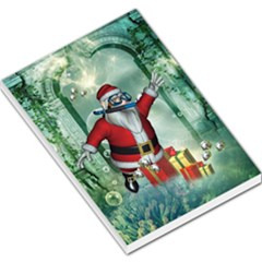 Funny Santa Claus In The Underwater World Large Memo Pads by FantasyWorld7