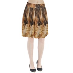 Brown Beige Abstract Painting Pleated Skirt by Zeze