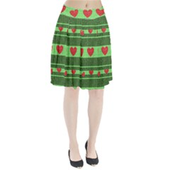 Fabric Christmas Hearts Texture Pleated Skirt by Zeze
