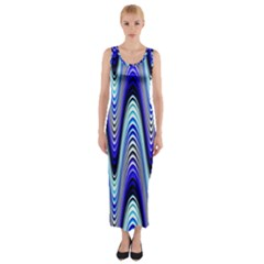 Waves Wavy Blue Pale Cobalt Navy Fitted Maxi Dress by Zeze