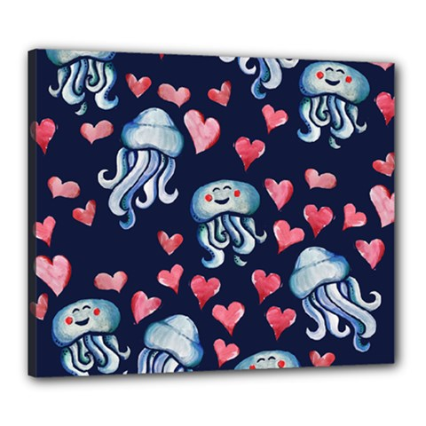 Jellyfish Love Canvas 24  X 20  by BubbSnugg