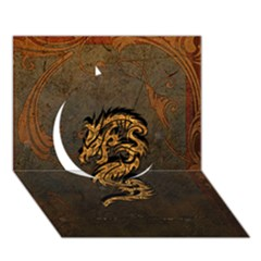 Awesome Dragon, Tribal Design Circle 3d Greeting Card (7x5) by FantasyWorld7