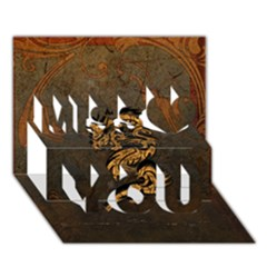 Awesome Dragon, Tribal Design Miss You 3d Greeting Card (7x5)