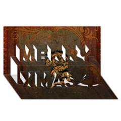 Awesome Dragon, Tribal Design Merry Xmas 3d Greeting Card (8x4) by FantasyWorld7