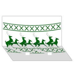 Humping Reindeer Ugly Christmas Twin Heart Bottom 3d Greeting Card (8x4) by Onesevenart
