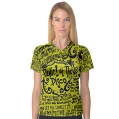 Panic! At The Disco Lyric Quotes Women s V Neck Sport Mesh Tee by Onesevenart