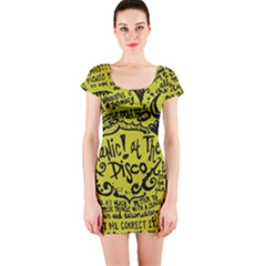 Panic! At The Disco Lyric Quotes Short Sleeve Bodycon Dress by Onesevenart