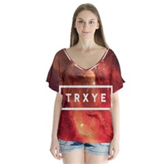 Trxye Galaxy Nebula Flutter Sleeve Top by Onesevenart