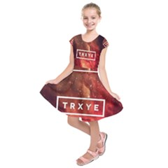 Trxye Galaxy Nebula Kids  Short Sleeve Dress by Onesevenart