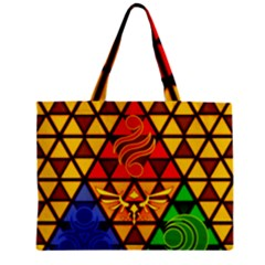 The Triforce Stained Glass Zipper Mini Tote Bag by Onesevenart