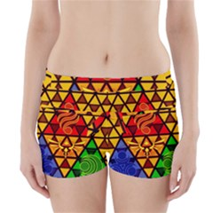 The Triforce Stained Glass Boyleg Bikini Wrap Bottoms by Onesevenart